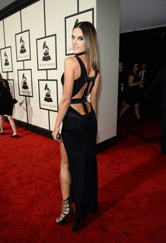 Alessandra Ambrosio channeled her inner Angelina Jolie and showed some seriously sexy leg on the 2016 Grammy Awards red carpet.