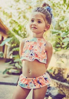 Adorable toddler bikini swimsuit! Oh my gosh this is too cute! Perfect for a summer pool party or vacation! #toddlerclothes #ad #toddlerswim