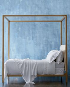 Our gorgeous 'Idra' canopy bed in gold and ivory. We're obsessed!