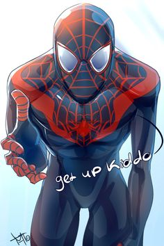#Spiderman #Miles #Morales #Fan #Art. (Get up Kiddo) By: MTO. ÅWESOMENESS!!!™ ÅÅÅ+