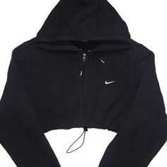 Reworked Nike Zip Up Crop Hoody Blk