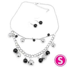 5th Avenue Black and Silver Beaded Necklace -Short Necklace Item #: P2110 Paparazzi Accessories with Alicia Zeller #24034