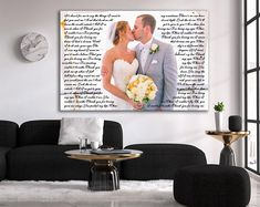 Wedding Gift, One Year Anniversary Gift, First Dance Love Song Lyrics, Personalized Wedding Anniversary Gifts, Christmas Wife Gift Idea Wedding Music, Wedding Gifts, Wedding Shot, Wedding Ideas, Wedding Reception, First Dance Lyrics, Song Lyrics, One Year Anniversary Gifts, Custom Canvas Prints