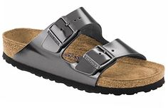 Birkenstock Arizona Metallic Sandals, 38, Anthracite ** Read more reviews of the product by visiting the link on the image.