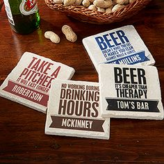 Beer Quotes Personalized Tumbled Stone Coaster Set -  these are awesome - you can personalize them with your own name! Great gift idea for guys!
