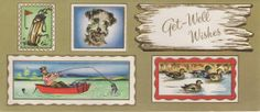 Vintage Used Get Well Greeting Card - Manly Pursuits - early 1950s