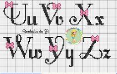 Alfabeto con fiocchetto U-Z punto croce