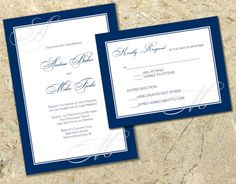 DIY elegant navy Wedding Invitation and RSVP Set by SBStudioDesign, $30.00  Maybe you can get Jack to take a pre-organised PDF design to work with him so you have a little more control over what the invitations look like- cheap (win) and elegant (win, win).
