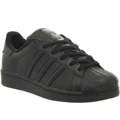 Adidas Superstar Gs (86 AUD) ❤ liked on Polyvore featuring shoes, sneakers, adidas, sapatos, trainers, black mono, hers trainers, low top, adidas sneakers and adidas footwear
