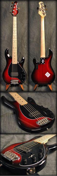 Ernie Ball Music Man Stingray 5 String Bass Guitar, Black Cherry Burst