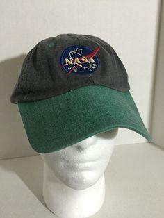 fa5c1f9f138 True Vintage 80 s Blue Gray NASA Patch Snapback Hat Baseball Cap Retro Rare