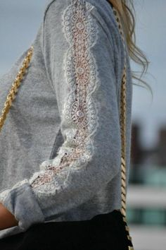 Sewing Clothes Lace Ideas Ideas For 2019 - Upcycle clothes - Clothes Refashion, Diy Clothing, Sewing Clothes, Sweater Refashion, Recycled Clothing, Redo Clothes, Refashioned Clothes, Nice Clothes, Fashion Details
