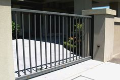 sliding steel automatic security gate and gate opener Automatic Sliding Gate Opener, Gate Operators, Balcony Railing Design, Security Gates, Door Gate Design, Metal Gates, Exterior Design, Stairs, Outdoor Decor