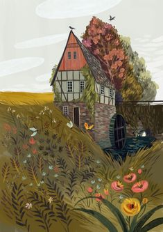 Demidova) An illustration of a beautiful pastoral countryside home surrrounding by fauna, flowers and fields (by Olga Demidova)Olga Olga or Olha may refer to: Kunst Inspo, Art Inspo, Art And Illustration, Portrait Illustration, Guache, Pics Art, Art Design, Art Reference, Illustrators