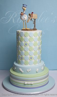 White Stork Baby Shower Cake