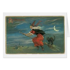 Old-fashioned Halloween Witch with Black cat Card - diy cyo personalize design idea new special