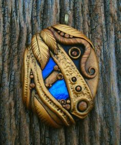 Polymer Clay Pendant Golden Sands with Blue Art by MandarinMoon, $35.00