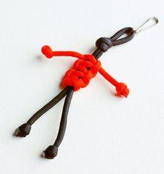 Paracord Keychain - 550 Paracord - Survival Keychains - Black & Orange Keychain - Para-Bandit - Zipper Pull - Stocking Stuffers