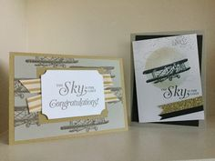 These cards feature the Stampin' Up Sale-a-Bration stamp set Sky is the Limit, available for a limited time - created by Julia Jordan
