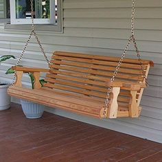 Amish Heavy Duty 800 Lb Roll Back Treated Porch Swing with Cupholders - Cedar Stain Garden Swing Seat, Pergola Swing, Pergola With Roof, Porch Swing, Pergola Ideas, Sunbrella Outdoor Cushions, Cedar Stain, Glider Chair, Porch Glider