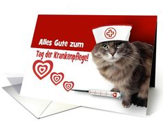 Alles Gute zum Tag der Krankenpflege.  Funny Kitten Nurse design Nurse Appreciation Greeting Cards in German with personalized greeting. at greetingcarduniverse.com