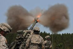 #USArmy photo: @MINationalGuard Soldiers fire the M777A1 howitzer during a Combat Training Capability Exercise..
