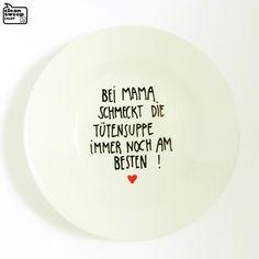 """Suppenteller """"Tütensuppe"""" zum Muttertag // soup plate via DaWanda.com // 9,95€"""