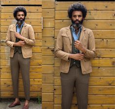 Origin Tweed Waistcoat, Canvas Brown Olive Cotton, We Light Blue Shirt