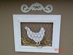Building a Chicken Coop - Shabby Chic Tiny Retreat: The chicken coop is dressed for Fall Building a chicken coop does not have to be tricky nor does it have to set you back a ton of scratch. Door Crafts, Frame Crafts, Diy And Crafts, Chicken Wire Crafts, Chicken Wire Frame, Chicken Signs, Chicken Art, Chicken Coops, Attic Design