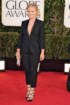 Amy Poehler in a Stella McCartney pantsuit, Golden Globes 2013