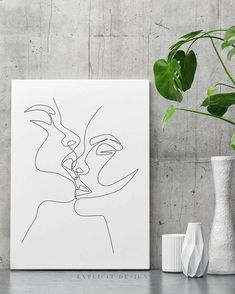 Couple Kiss Printable, One Line Drawing Print, Black and White Intimacy Artwork Poster, Original Minimalist Kissing Art, Minimal Fine Decor.  INSTANT DOWNLOAD This listing is for a DIGITAL FILE of this artwork. No physical item will be sent. You can print the file at home, at a local