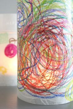 Made by coloring … – Beautiful handmade art lanterns. Toddler Crafts, Diy Crafts For Kids, Easy Crafts, Table Lanterns, Paper Lanterns, Table Lamps, Diy Paper, Paper Crafts, Paper Tape