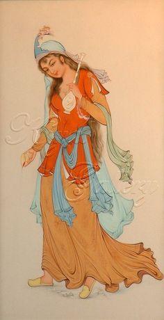 Persian miniature painting Woman sprinkling rose water