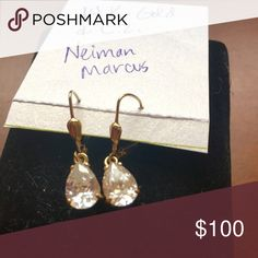 14k gold and CZ drop pear earrings French lever back posts, solid 14k yellow gold stamped, Pear shaped CZ stones--approx the size of 1.5 carat diamonds. (Each stone)  Purchased from Neiman Marcus.  Excellent quality and believable look and size.  Excellent condition, worn only once or twice.  No trades. Neiman Marcus Jewelry Earrings