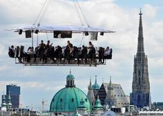 Newest tourist attraction in Vienna, Austria! The flying restaurant