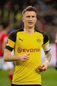 Marco Reus of Borussia Dortmund looks on during the Bundesliga match between Borussia Dortmund and FSV Mainz 05 at Signal Iduna Park on April 2019 in Dortmund, Germany. Signal Iduna, Football Pictures, That Look, Mens Tops, Football, Marco Reus, Borussia Dortmund, Football Soccer, Football Pics