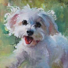 "'Fun Sized' pet portrait of Daisy. 4x4"" oil on canvas by Heather Lenefsky art. #DogPainting"