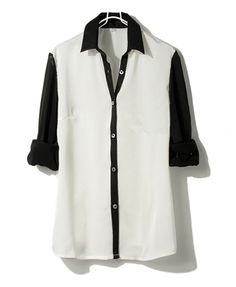 Point Collar Chiffon Blouse with Color Block Design