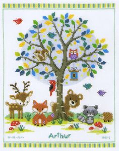All the woodland animals - bear, fox, deer, raccoon, fox, hedgehog and squirrels with owl and woodpecker are eager to see the new baby.