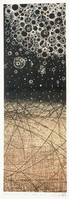 春を放つものたち 21.Oct.2010 Emititng Spring   painting, collage on my original printed paper collage   林孝彦 HAYASHI Takahiko 2010