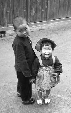 兄弟 Japanese boy and young girl. 1956.