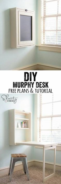 Do it yourself Murphy desk for a small space. Can't we do this for the ironing board??