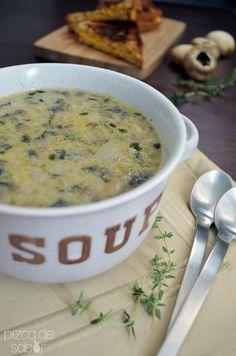 Sopa cremosa de champiñones (sin lácteos) www.pizcadesabor.com