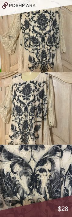 Designer Brittany black New elegant blouse Blouse in lace fabric with lined and embroidered adorned beautiful printed in black color long sleeves bell finally U low neckline size 2x brilany black Tops Blouses