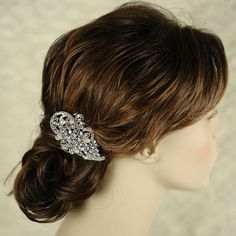 ($58) ALICE - Vintage Style Rhinestone and Swarovski Crystal Pearl Bridal Hair Comb in White or Ivory, Art Deco Pearl Wedding Hair Accessory