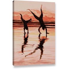 Lindsey Janich Beach Buddies Handstands Gallery-Wrapped Canvas, Size: 16 x 24, Brown