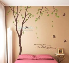 Tall Birch trees Vinyl wall decals tree decals wall stickers nursery wall decals- 8.5 Foot Birch Tree with flying birds. $52.95, via Etsy.