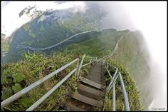Haiku Stairs - Also known as the Stairway to Heaven. Unusual trail on the island of Oahu consisting of almost 4000 steps