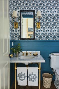 Blue and white powder room with painted wainscot and Meg Braff wallpaper and monogrammed Leontine Linens by Heather Chadduck Interiors at the Southern Living Idea House 2019 Southern Living Homes, Beach House Decor, Home Decor, Bathroom Wallpaper, Beautiful Bathrooms, Home Remodeling, House Design, Garden Design, House Styles