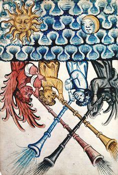 four windsKonrad Kyeser, Bellifortis, Germany 15th centuryBesançon, Bibliothèque municipale, ms. 1360, fol. 4v